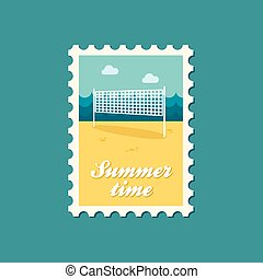 Volleyball net beach sport flat stamp