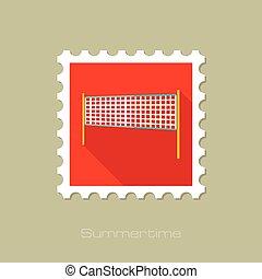 Volleyball net beach sport flat stamp