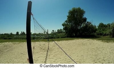 Volleyball net - Old volleyball net on river bank