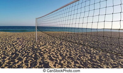 Volleyball net on beach in summer in Albufeira.