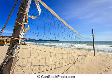 volleyball net on the beach