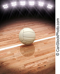 Volleyball on a court with stadium lighting with room for text or copy space, 3d rendering