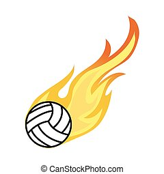 Volleyball on fire vector icon
