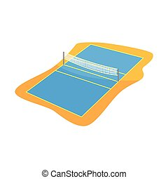 Volleyball or badminton court with net in flat style