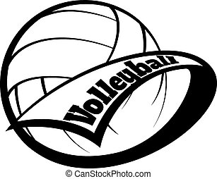 Volleyball Pennant with Font - Stylized volleyball with a...