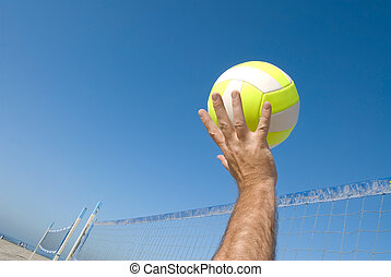 Volleyball player at beach