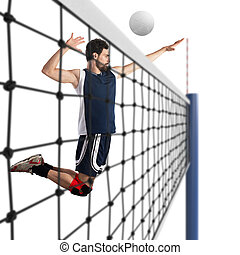 Volleyball player hits the ball
