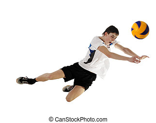 Volleyball player in high flying with a ball
