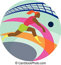 Volleyball Player Passing Ball Icon