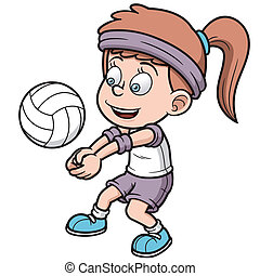 Volleyball player - Vector illustration of Young volleyball ...