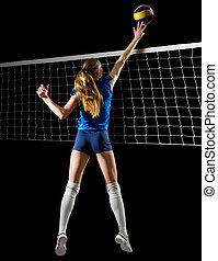 Volleyball player (ver with ball and net) - Young woman...