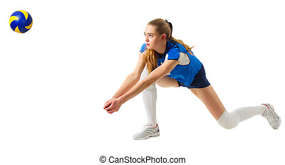 Volleyball player (ver with ball) - Young woman volleyball...