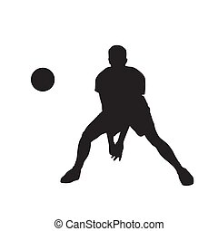 Volleyball player with ball, isolated vector silhouette. Front view