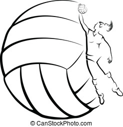 Volleyball Player with Volleyball B - Vector illustration of...