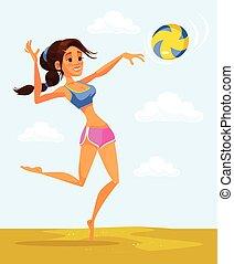 Volleyball player woman character. Vector flat cartoon illustration