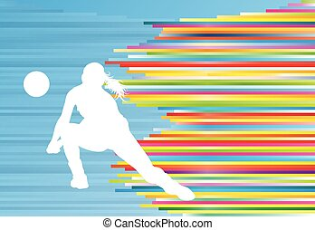 Volleyball player woman silhouette abstract vector background
