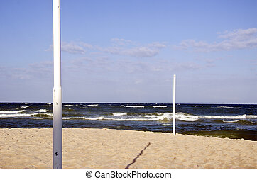 volleyball pole on the beach