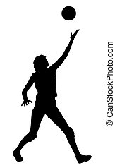 Silhouette of volleyball woman player on isolated white background. EPS file available.
