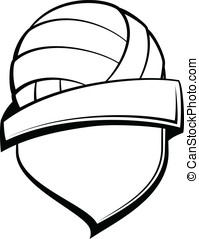 Volleyball Shield - Vector illustration of a shield with a...