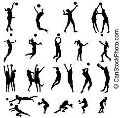 volleyball, silhouetten, sammlung