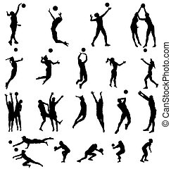 many different volleyball silhouettes with high detail