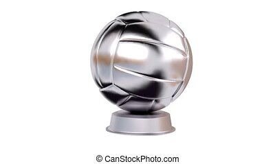 Volleyball Silver Trophy in Infinite Rotation with a white...