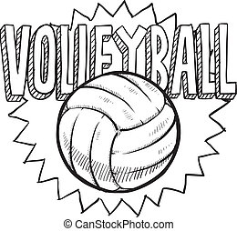 Volleyball sketch - Doodle style volleyball illustration in...