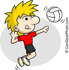 boy is doing volleyball spike