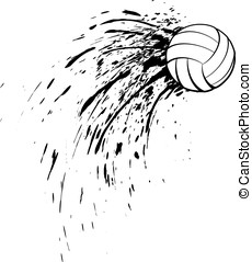 Volleyball Splatter - Black and white vector illustration of...