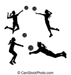 Player and ball icon. Volleyball sport hobby and competition theme. Black and white design. Vector illustration