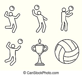 Volleyball sport icons set, outline style