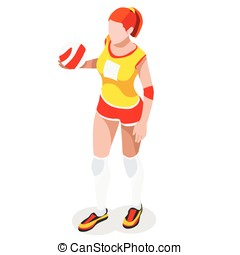 Volleyball Sports 3D Isometric Vector Illustration