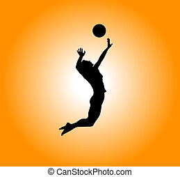 volleyball - silhouette - woman plays volleyball