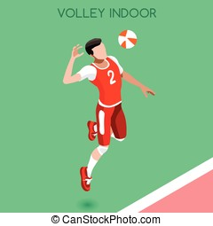 Volleyball  Summer Games Isometric 3D Vector Illustration