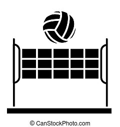 volleyball - summer sport icon, vector illustration, black sign on isolated background