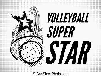 Volleyball super star design badge or logo. illustration...