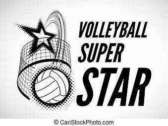 Volleyball super star design badge or logo. Vector...