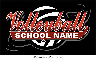 volleyball team design in script with tail for school, ...