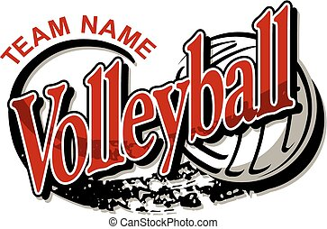 volleyball team design with ball and swoosh marks