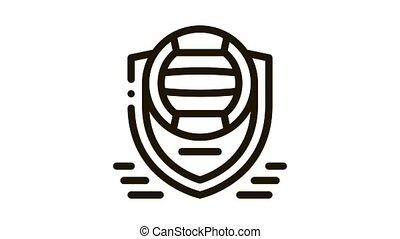 Volleyball Team Emblem Icon Animation. black Volleyball Team Emblem animated icon on white background