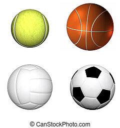 volleyball, tennis, kugel, fußball, basketball