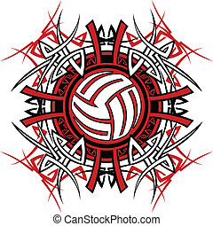 Graphic of a Volleyball with Tribal Borders