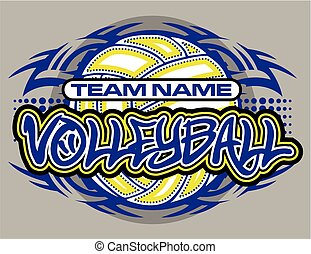 volleyball team design with tribal border and ball