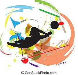 volleyball., vektor, abbildung