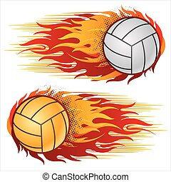 volleyball with flames - flame, volleyball design element