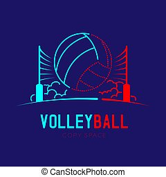 Volleyball with net and cloud logo icon outline stroke set dash line design illustration isolated on dark blue background with Volleyball text and copy space, vector eps 10