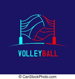 Volleyball with net logo icon outline stroke set dash line design illustration isolated on dark blue background with Volleyball text and copy space, vector eps 10