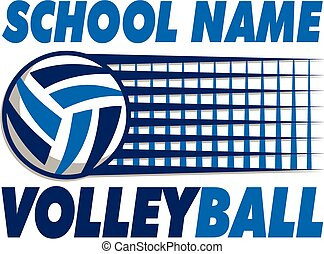 volleyball team design with ball and graphic net
