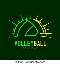 Volleyball with radius frame logo icon outline stroke set dash line design illustration isolated on dark green background with Volleyball text and copy space, vector eps 10