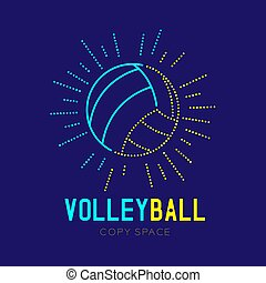 Volleyball with radius frame logo icon outline stroke set dash line design illustration isolated on dark blue background with Volleyball text and copy space, vector eps 10